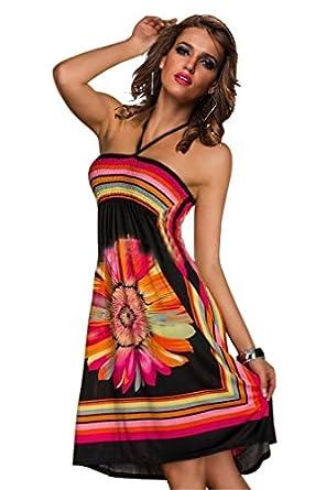 Amour- Fashion Retro Maxi Hippie Boho Paisley Print Strapless Summer Sun Dress Casual (M, 1-B8825 Black)