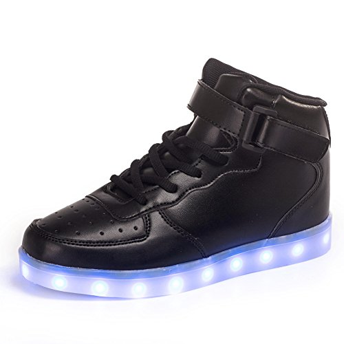 LakeRom High Top USB Charging LED Shoes Flashing Fashion Sneakers for Kids Boots (Little Kid/Big Kid) LRGB889-Black-37 (Big Boys Shoes Size 5 compare prices)