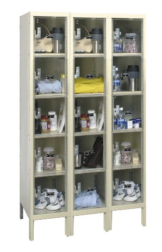 "Hallowell USVP3256-5A-PT Safety-View Plus Locker, 36"" Width x 15"" Depth x 66"" Height, 5-Tier, 3-Wide, Assembled, 729 Parchment"
