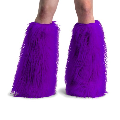 Women's Boot COVERS Sexy Faux Fur Boot SLEEVE Theatre Costumes Accessory Purple