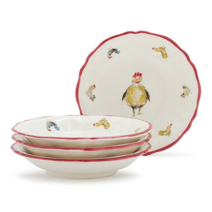 Sur La Table Jacques Pepin Collection Chickens Pasta Bowls 2016/22 , Set of 4 (Chicken Dinnerware compare prices)