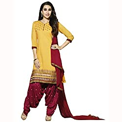Parisha Latest Yellow Embroidered Dress Material