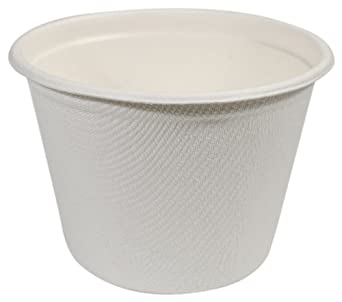 "IFN Green 29-5001 Fiber Bagasse Portion Cup, 4 oz Capacity, 3"" Length x 3"" Width x 1.8"" Height (Case of 1000)"