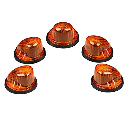 Partsam 5pcs Roof Running Cab Marker Light Amber Cover+ 5xBlack Base for 73-87 GMC/Chevy Pickup (73 87 Chevy Truck compare prices)