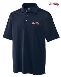 Atlanta Braves Mens DryTec Medina Tonal Stripe Polo Shirt Navy Blue by Cutter & Buck