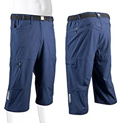 Men s Bicycle Commuter Urban Pedal Pusher Knickers w Zippered Pockets Stretch Woven Navy Blue Medium