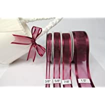 Burgundy Organza Ribbon With Satin Edge-25 Yards X 3/8 Inches