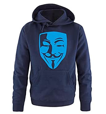 Comedy Shirts - Anonymous Maske - Herren Hoodie in Navy / Blau Gr. S