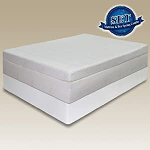 Sleep Master 13-Inch Pillow Top Pressure Relief Memory Foam Mattress Set with Bi-Fold Boxspring, Queen