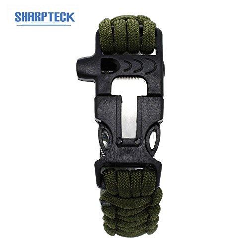 LANDVO Multifunction Outdoors Survival Paracord Bracelet w/ Flint Fire Starter Scraper Whistle Kit - Army Green