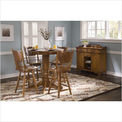 LibertyFurniture 10-PUB42 / 10-PUB42B / 10-B517 Nostalgia Casual Dining 5 Piece Round Pub Table Set with Press Back Barstools in Medium Oak