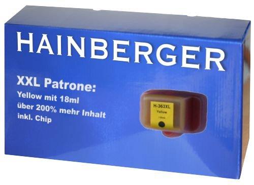 Hainbergerkompatible XXL Tintenpatrone 18ml 1x Yellow für HP 363 Serie 363Y für HP Photosmart C5190 C5194 C5150 C5160 C5170 C5173 C5175 C5183 C5185 C5188 C5190 C5194 C6150 C6160 D6160 D7145 D7155 D7160 D7163 D7168 D7180 D7183 D7260 D7280 D7300 D7345 D7355 D7360 D7363 D7368 D7460 D7463 D7468 Photosmart 3100 3110 3200 3210 3310 C5180 C6160 C6180 C7180 8200 8238 8250