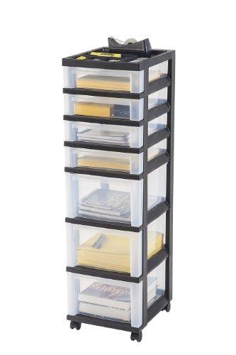 iris 7 drawer storage rolling cart with organizer top black new ebay. Black Bedroom Furniture Sets. Home Design Ideas