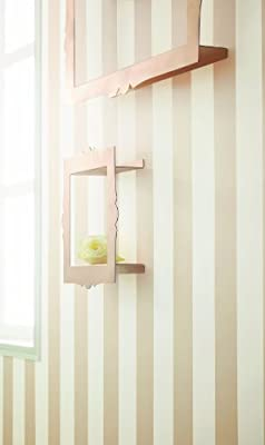 White And Pale Gold Wide Stripe Wallpaper