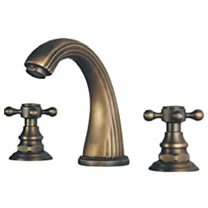 Ouku Deck Mount Contemporary Antique Inspired Solid Brass Finish Widespread