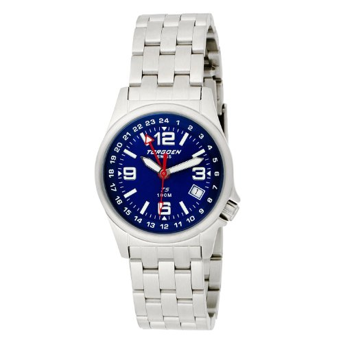 Torgoen - T05602 - Montre Femme - Quartz Analogique - Cadran Bleu - Bracelet Acier Argent