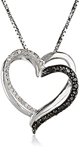 Sterling Silver and Black and White Diamond Heart Pendant Necklace (1/4 cttw, I-J Color, I2-I3 Clarity), 18