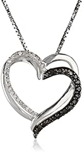 """Sterling Silver and Black and White Diamond Heart Pendant Necklace (1/4 cttw), 18"""""""
