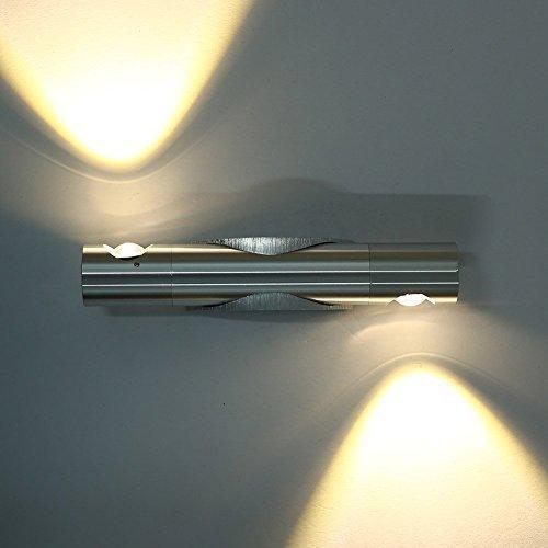 Lightess LED Lampada da Parete Stile Moderno Applique al Muro per Camere da Letto, Angolo Regolabile 6W (2x3W) Bianco Caldo