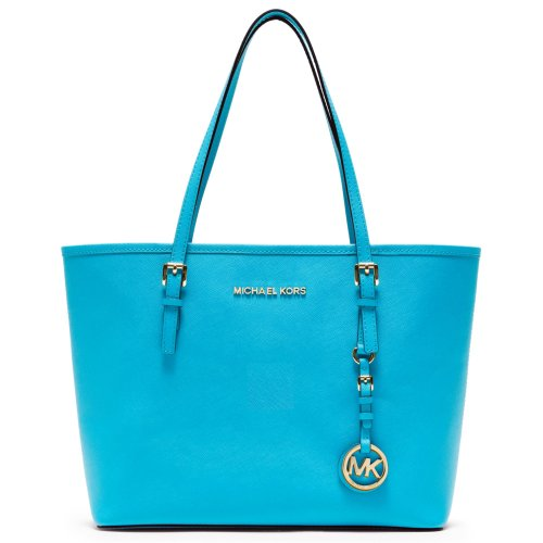 Michael Kors Small Travel Set Tote Genuine Leather Summer Blue