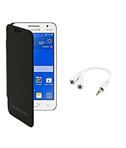 KolorEdge Flip Cover with Audio Splitter For Samsung Galaxy Core 2 - SM G355H - Black