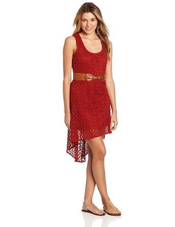As U Wish Juniors Crochet High Low Belted Dress, Rust, Small