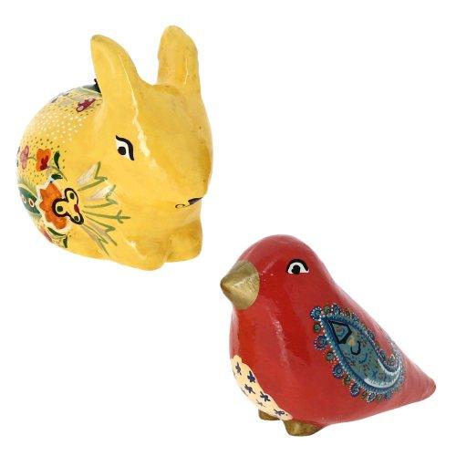 Paper Mache Animal Decor Valentine Ornaments Bird And Rabbit