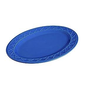 """Paula Deen Dinnerware Savannah Trellis Stoneware Oval Serving Platter, 10"""" x 14"""", Cornflower Blue"""