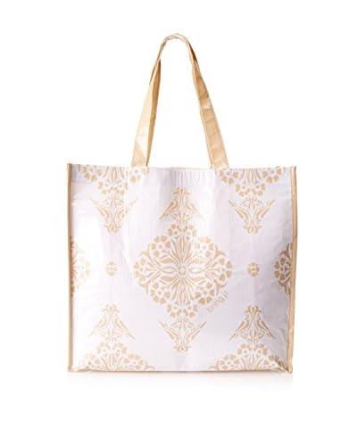 KAF Home Indian Print Market Tote, Khaki/White
