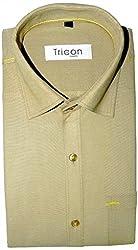 Tricon Men's Slim Fit Blended Plain Shirt (SS106_Brown_X-Large)