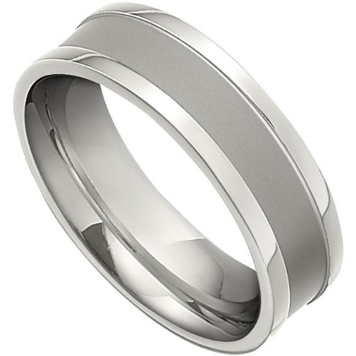 Titanium, Black PVD Satin Finish with Polished Edge Wedding Band (sz 10.5)