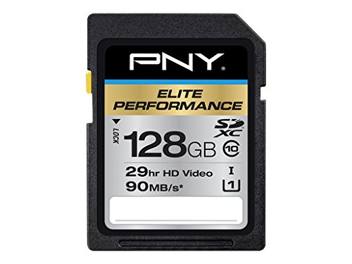For Sale! PNY Elite Performance 128 GB High Speed SDXC Class 10 UHS-I, U3 up to 95 MB/Sec Flash Card...