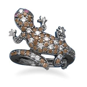 Sterling Silver Black Rhodium Plated CZ Gecko Ring / Size 6