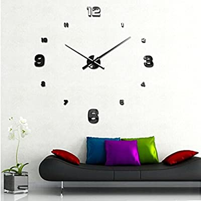 Gillberry Luxury 3D DIY Large Wall Clock Mirror Surface Sticker Home Office Decor