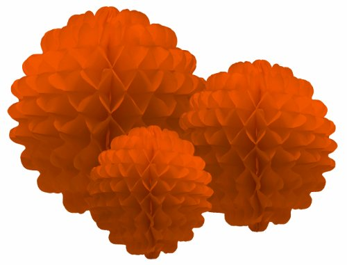 Party Partners Design Hanging Honeycomb Tissue Orange Pom-Pom Party Decoration Balls, Set of 3 - 1
