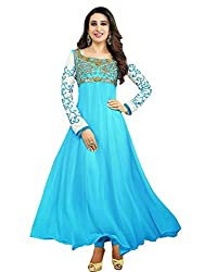 Zbuy Blue Georgette Embroidered Unstitched Salwar Suit Dress Material