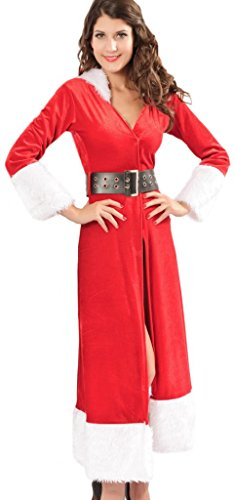 Eyekepper Ladies Sexy Miss Mrs Santa Christmas Velvet Fancy Dress Costume Outfit