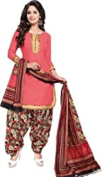 Taos womens pure cotton salwar suits for women New Arrival latest 2016 dress material party wear dresses Unstitched(Taos_316 pink)