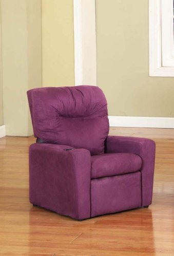 Kings Brand Purple Microfiber Kids Childrens Recliner Chair With Cup Holder