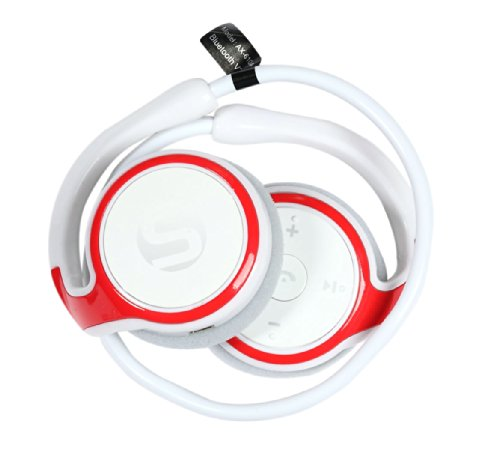 Bluetooth Running Headphones : Ax610 Microhpone Headset Earphones For Iphone/Samsung/Android Siri Compatible Ideal For Gym [White/Red]