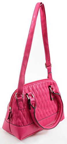Pink Vegan Faux Leather Quilted Mini Dome Handbag Purse (Hello Kitty Quilted Purse compare prices)