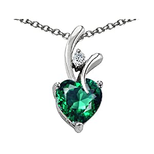 sterling silver 14k white gold plated created heart shaped emerald pendant