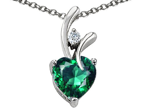 Original Star K(tm) Heart Shaped 8mm Simulated Emerald Pendant in .925 Sterling Silver