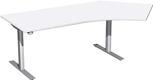 Hub elettrico da tavolo 135° destra regolabile in altezza, 2166X 1130x 680-1160, bianco/argento, Gera mobili