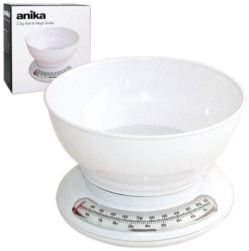 Anika Balance de cuisine en plastique avec bol Blanc 2,2 kg