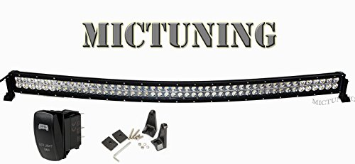 "Mictuning 50"" 288W- 3B439C -Curved Led Light Bar Spot Flood Combo Beam High Intensity Cree Led Fog Light Driving Headlight With Free Wiring Harness & Led Light Bar Rocker Switch Waterproof- Off Road 4X4 Jeep Cherokee Wrangler Polaris Rzr Razor Atv Utv Ute"