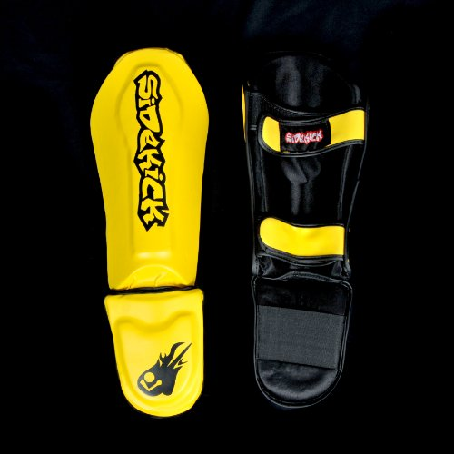 Sidekick Kids Yellow Martial Arts Kickboxing Thai Boxing Shin Instep Foot Pad Guards