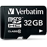 Verbatim 32 GB Premium MicroSDHC Memory Card with Adapter, Class 10 44083