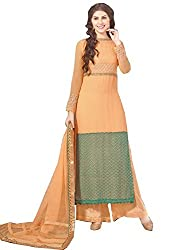 APRAH FASHIONS Women's Faux Georgette Unstithed Dress Material (AFV-Florida-1008_Orange_Freesize)