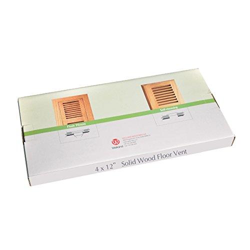 Welland 4 inch x 12 inch red oak hardwood vent floor for Wood floor registers 6 x 14